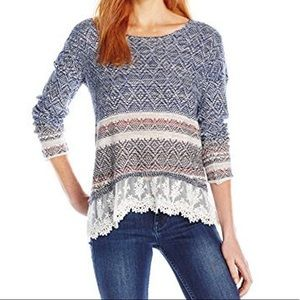 Jolt Boarder Print Sweater With Lace Hem